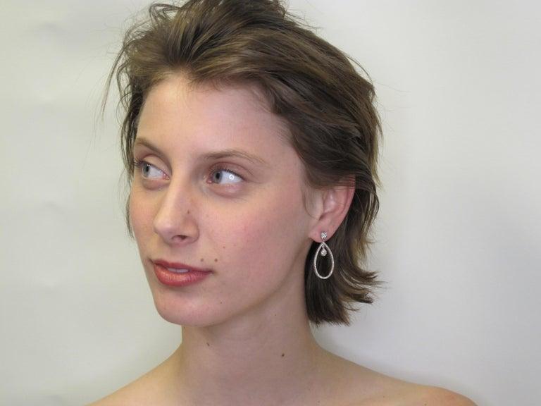 Round Cut 1.55 Carat Total Diamond and 18k White Gold Sasha Primak Dangle Earrings For Sale
