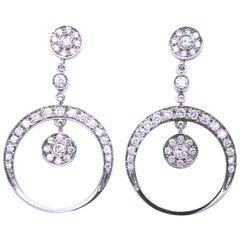 1.55 Karat Brilliant Cut White Diamond Dangle Earrings