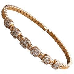 1.55 White Diamond 18 Karat Rose Gold Setting Contemporary Bangle Bracelet