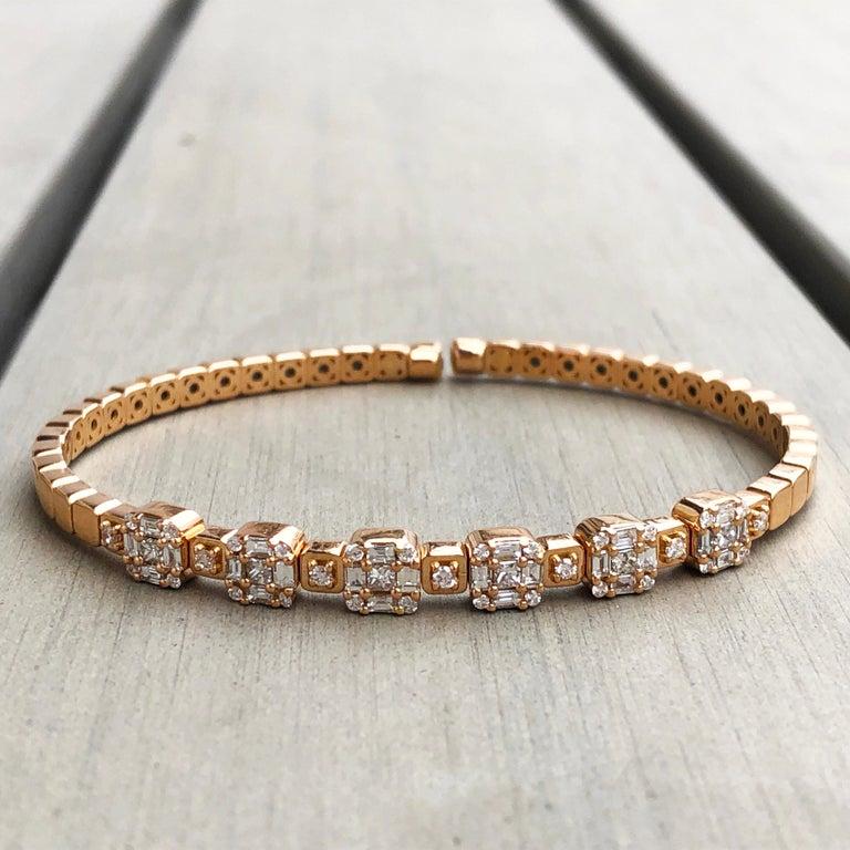 1.55 White Diamond 18 Karat Rose Gold Setting Contemporary Bangle Bracelet For Sale 5