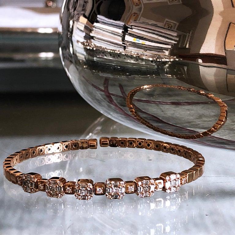 1.55 White Diamond 18 Karat Rose Gold Setting Contemporary Bangle Bracelet For Sale 10