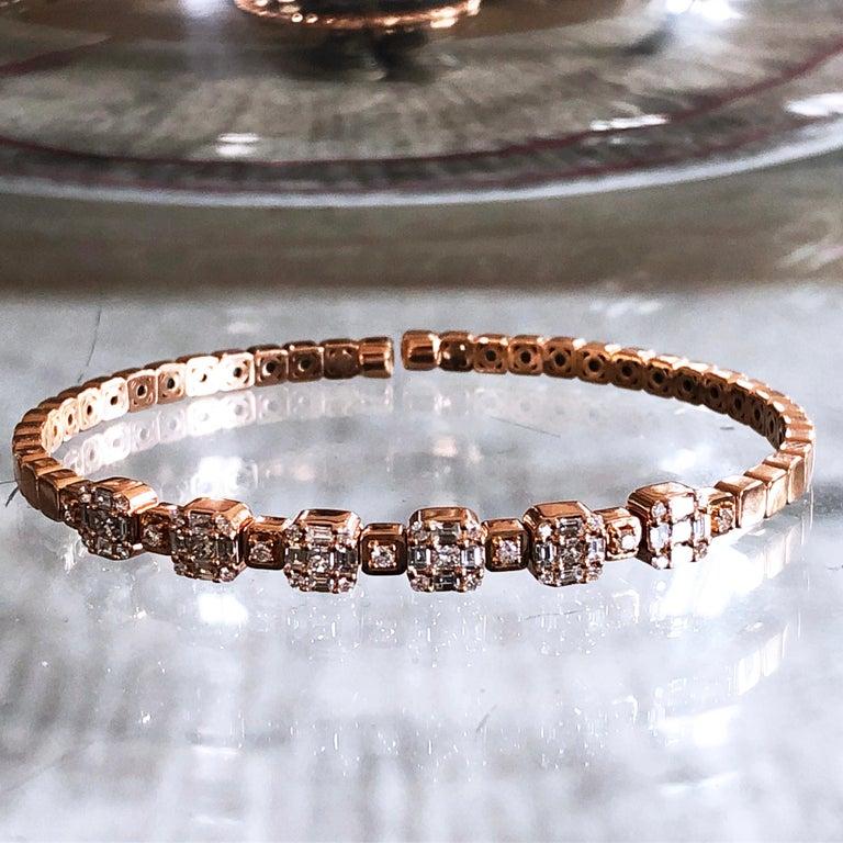 1.55 White Diamond 18 Karat Rose Gold Setting Contemporary Bangle Bracelet For Sale 11