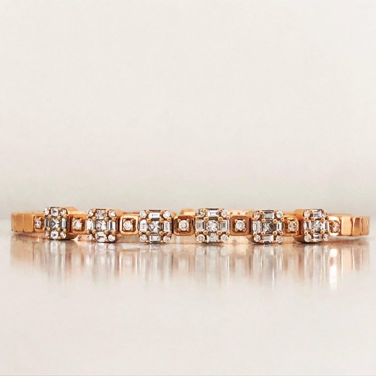 Baguette Cut 1.55 White Diamond 18 Karat Rose Gold Setting Contemporary Bangle Bracelet For Sale