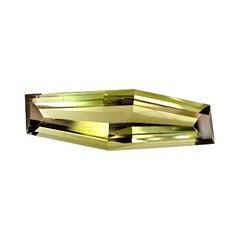 15.50 Carat Bi-Color Tourmaline Fancy Elongated Hexagon, Unset Pendant Gemstone