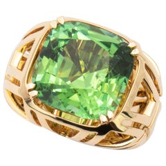 15.50 Carat Handmade Yellow Gold Green Tourmaline Cocktail Ring