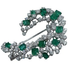 15.50 Carat Natural Emeralds and Diamond Platinum Brooch