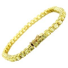 15.50 Ct Natural Yellow Diamond Tennis Bracelet in 18kt Yellow Gold