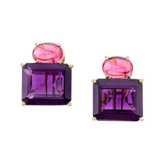 15.51 ct. t.w. Amethyst and Pink Spinel Cabochon 18k Gold French Clip Earrings