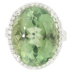15.52 Carat Green Amethyst and White Diamond Ring