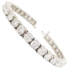 15.58 Carat Round Brilliant Natural Diamond Tennis Bracelet 14 Karat White Gold