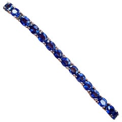 15.58 Carat Cornflower Blue Tennis Bracelet in 18 White Gold