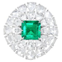 15.59 Carat Rose Cut Diamond Emerald 18 Karat Gold Ring