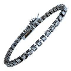 1.55ct Natural Diamonds Tennis Bracelet 14kt Gold Squared Box Bead Set