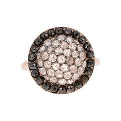 1.56 Carat Black and White Rose Cut Diamond Cocktail Ring 18 Karat Rose Gold