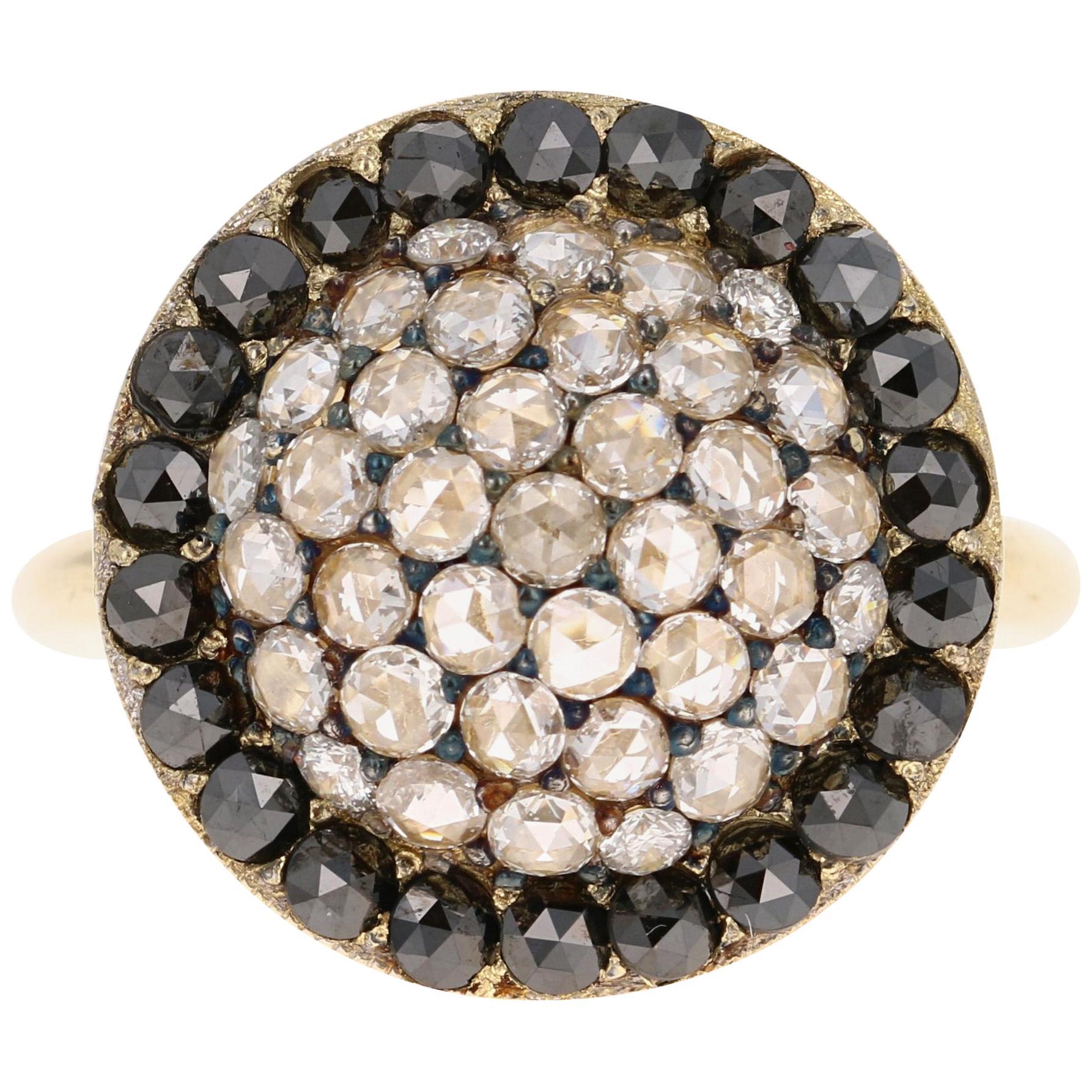 1.56 Carat Black and White Rose Cut Diamond Cocktail Ring 18 Karat Yellow Gold