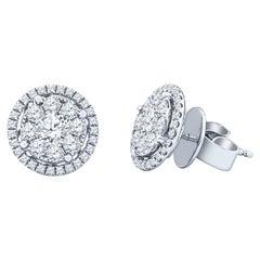 1.56 Carat Diamond Halo Earrings Set in 18 Karat White Gold
