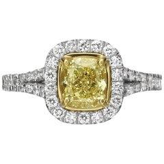 1.56 Carat Fancy Yellow Cushion Cut Diamond Engagement Ring