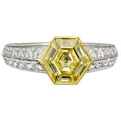 1.56 Carat Fancy Yellow Hexagonal Diamond Ring in Diamond-Set Band by Hancocks