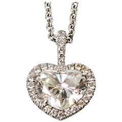 1.56 Carat GIA Certified Heart Shaped Diamond with .50 Carat Halo 18 Kt Necklace