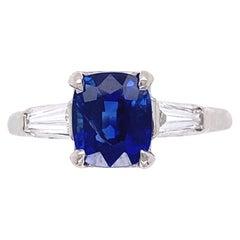 1.56 Carat No Heat Sapphire Diamond Platinum Cocktail Ring Estate Fine Jewelry