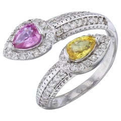 1.56 Carat Pink and Yellow Sapphire Diamond Cocktail Ring