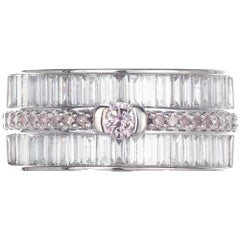 1.56 Carat Pink White Diamond White Gold Band Cocktail Ring
