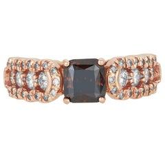 1.56 Carat Princess Cognac Color Diamond and White Diamond Ring 14K Rose Gold