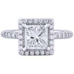 GIA Certified 1.56 Carat Princess Cut Diamond with a Pave Halo Engagement Ring