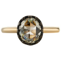 1.56 Carat Rose Cut Diamond Set in a Handcrafted 18 Karat Gold and Silver Ring