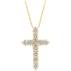 1.56 Carat Round Diamond Cross Pendant Necklace in Yellow Gold