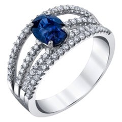 1.56 Carat Royal Blue Sapphire and Pave Set Diamond Multi-Band White Gold Ring