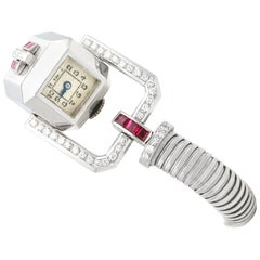 1.56 Carat Ruby 1.02 Carat Diamond Ladies Cocktail Watch in White Gold Art Deco