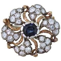 1.56 Carat Sapphire and 1.41 Carat Diamond Brooch, circa 1960