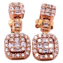 Berca 1.56 Karat Baguette Princess Brilliant Cut White Diamond Dangle Earrings