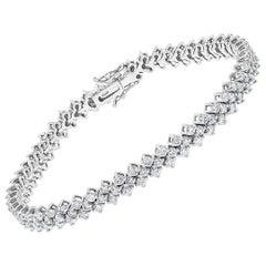 156 Round Diamond 4-5 Pointer Each Tennis Bracelet in 18 K White Gold 6.5 Carat
