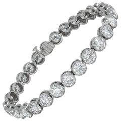 15.60 Carat Bezel-Set Diamond Platinum Tennis Bracelet