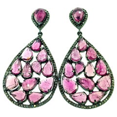 15.60 ct Tourmaline Diamond Earrings in Oxidized Sterling Silver with 14KT Gold