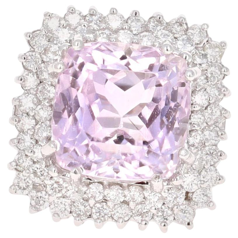 15.62 Carat Kunzite Diamond White Gold Cocktail Ring