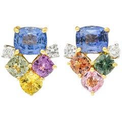 15.63 Carat Multi-Sapphire Diamond 18 Karat Gold Platinum Cluster Earrings
