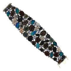 15.63ct Doublet Opal 106.51ct Geode 2.21ct Diamond 925 Silver 18k Gold Bracelet