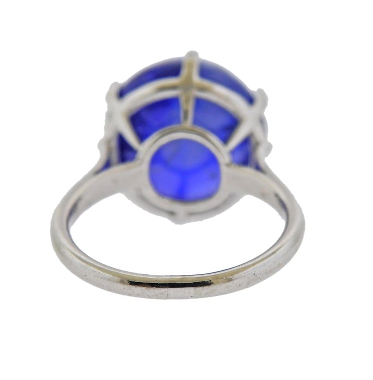 15.65 Carat No Heat Burma Sapphire Cabochon Gold Ring In Excellent Condition For Sale In New York, NY