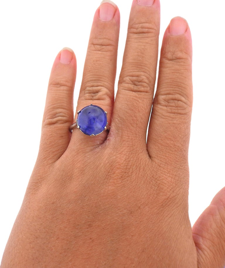 Women's 15.65 Carat No Heat Burma Sapphire Cabochon Gold Ring For Sale
