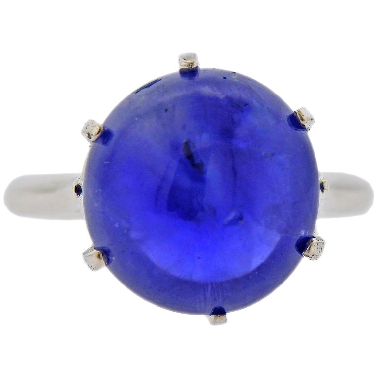 15.65 Carat No Heat Burma Sapphire Cabochon Gold Ring For Sale
