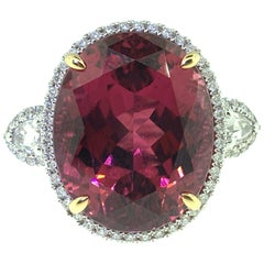 15.65 Carat Oval Rubellite Tourmaline and Diamond Cocktail Ring