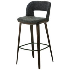 In stock in Los Angeles, Grey Bar stool designed by Carlesi Tonelli