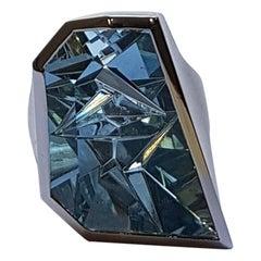 """15.67 Carat Aquamarine Platinum Ring """"Ritmo"""" by Atelier Munsteiner"""