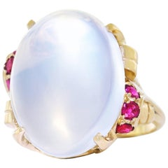 15.67 Carat Moonstone and Ruby Set Gold Ring
