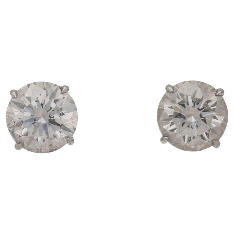 1.56 Carat Total Diamond Single Stone Stud Earrings