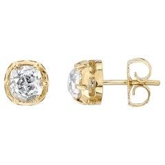 1.56 Carat HI/SI3/I1 GIA Certified Cushion Cut Diamonds in 18 Karat Gold Studs