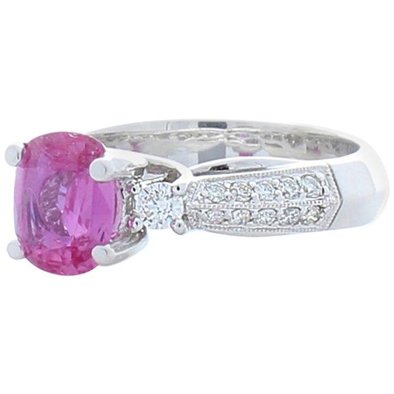 1 57 Carat Cushion Cut Pink Sapphire And Diamond Cocktail Ring In 18 Karat Gold